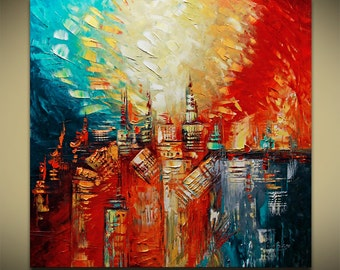 Life on Mars ABSTRACT ORIGINAL Painting Contemporary Modern Textured Palette Knife by Lana Guise