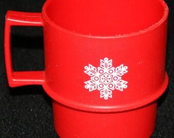 Vtg Tupperware Holiday Coffee Cup Mug Red Snowflake Holiday Christmas Winter