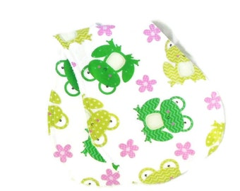 Two baby burp cloths, green frogs and pink flowers, contoured burp cloths, cotton terry and flannel, reversible