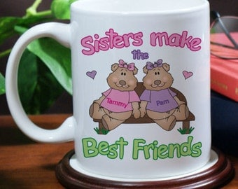 Personalized Sisters, Best Friends Coffee Mug