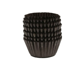50 x Brown Mini Cupcake Wrappers. Celebrations, Party, Easter, Halloween & Christmas Decoration Paper.  Cake Liner Cases
