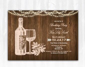 Wine Birthday Invitation DIY PRINTABLE Digital File or Print (extra) Vineyard Birthday Invitation Winery Birthday Invitation Wine Invite
