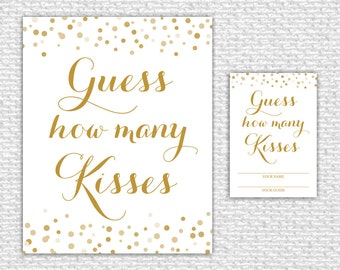 Guess How Many Kisses Printable Game, Bridal Shower Game, Bridal Shower Decor, Instant Download, Confetti