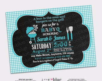Baby Q Barbeque Baby Shower Invitation Boy BBQ Invitation Printable Barbecue Invite (Blue Gingham Pattern)- Digital File