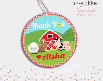 Farm Birthday Favor Tag - Barn Animals Thank You Tags - Round Gingham Party Favors - Farm Baby Shower Gift Tags - Personalized Digital File
