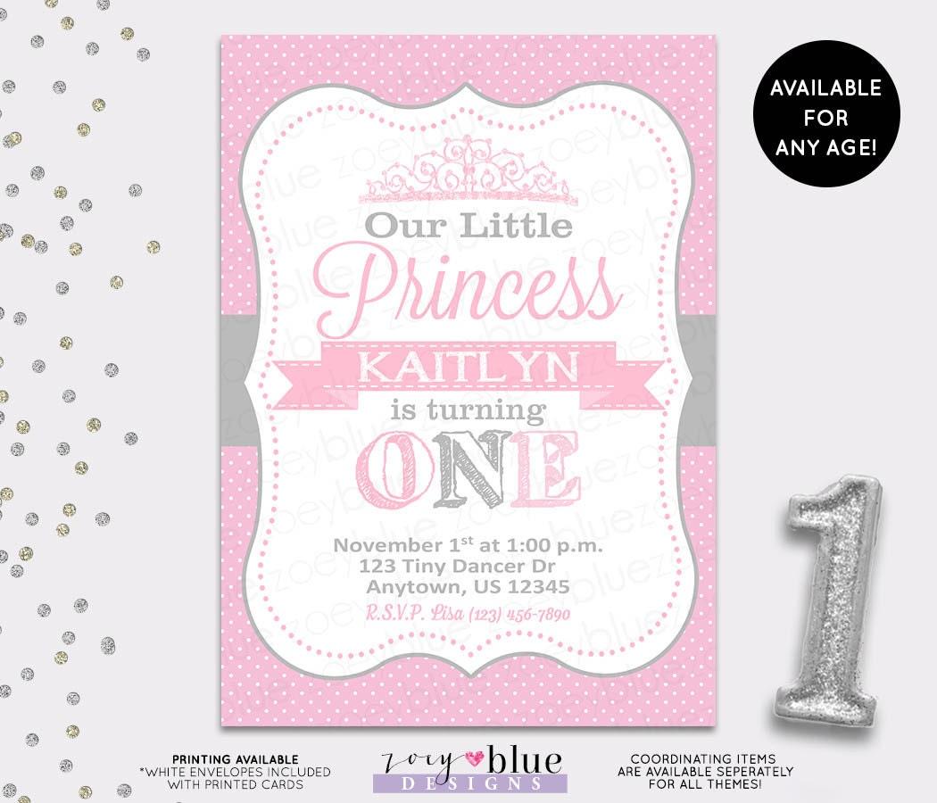 Princess Birthday Invitation Grey Pink White Polka Dots Gray – Polka Dot First Birthday Invitations
