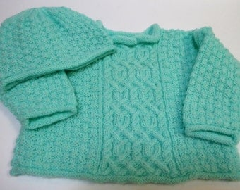 Two piece Cardigan and Hat. Great gift for boy or girl.