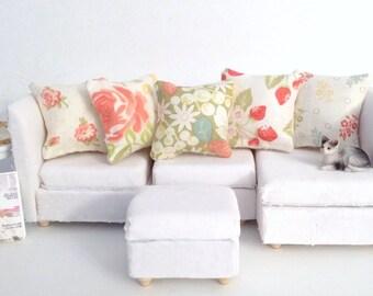 Modern Dollhouse Pillows, 5 Piece Green Coral White Pillow Set, 1:12 Pillow Set, Modern Fashion Doll Pillow, Fashion Doll Miniature Pillows