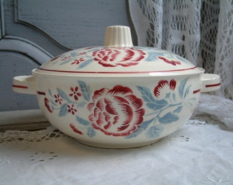 Vintage french mid century soup tureen. French stencilware tureen. Mid century french decor. Mid century covered serving dish