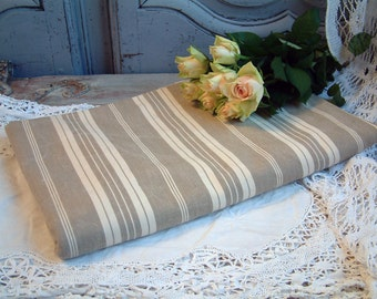 One piece french vintage mattress ticking. Ivory and khaki stripes. Taupe and cream stripe vintage mattress fabric.