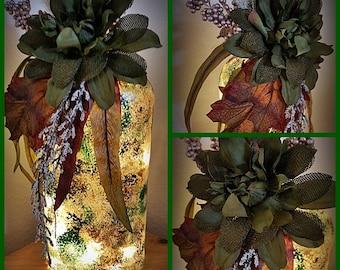 Sale!! Green Flower Fall Bottle Light with LED Lights