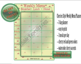 Cherries Menu Planner Printable Retro 50s Diner Style 7 Day Weekly Meal Calendar Green Red Butter Yellow Hand Painted Watercolor Fruit