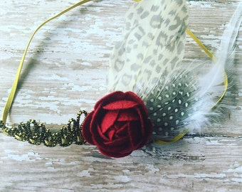 Beautiful vintage rose feather headband