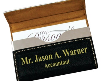 Engraved Leather Business Card Holder, Personalized Business Card Case, Office Gifts, Custom Business Card Holder, Engraved Business Case