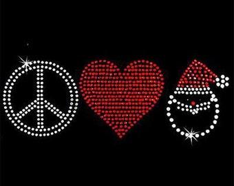 Rhinestone Transfer - Hot Fix Motif - Peace Heart Santa