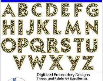 Embroidery Design CD - Leopard Alphabet Caps- 26 Designs - 9 Formats - Threadart
