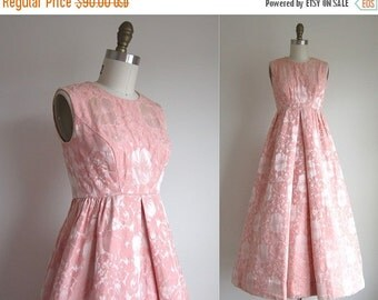 "SALE 30% OFF CLEARANCE 1950s Party Dress / Vintage 1950s Formal Dress / Long Formal Brocade Gown by Priscilla of Boston 24"" Waist"