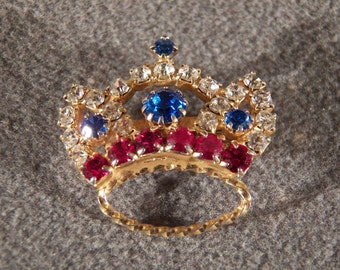Vintage Yellow Gold Tone Multi Shape Color Rhinestone Fancy Crown Pin Brooch Jewelry **RL
