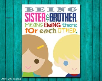 Brother and Sister Wall Art. Brother & Sister Decor. Playroom Decor. Sister and Brother Playroom Wall Art. Sibling Wall Art. Shared Room.