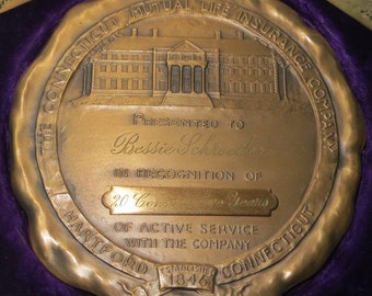 Vintage 1965 Equitable Life Assurance Society Dedication Medallion Paper Weight - Free Shipping
