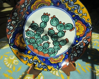 Reduced by 20.00 Dollars, WONDERFUL Set of Four Handthrown LEAD FREE,  Mexican Plates that are Totally Bohemian and Colorful!!!!!