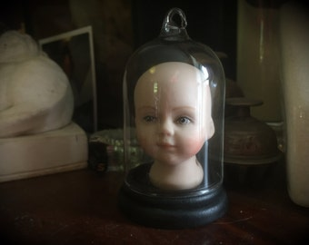 Creepy Vintage Doll Head in Glass Display Dome - Gothic - Cabinet of Curiosities