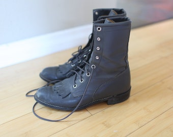 vintage texas  charcoal gray leather fringe ankle boots lace up womens 5 1/2 *