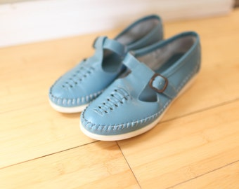 vintage woven blue leather maryjane moccasin oxfords women's 6