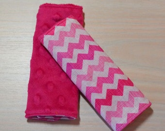 Car Seat Strap Covers - Chevron - Varigated Pink