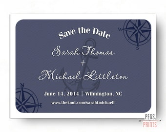 Save the Date Nautical - Save the Date Printable - Anchor Save the Dates - Beach Save the Date Navy - Digital Printable