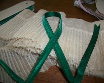 "Vintage Silk Velvet Ribbon Emerald City Satin back Yardage 3/8"" Wide"