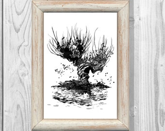 Harry Potter Poster Hogwarts  Whomping Willow Poster  Watercolor Print  Wall Illustrations Art Print  Home Decor Instant Digital Download