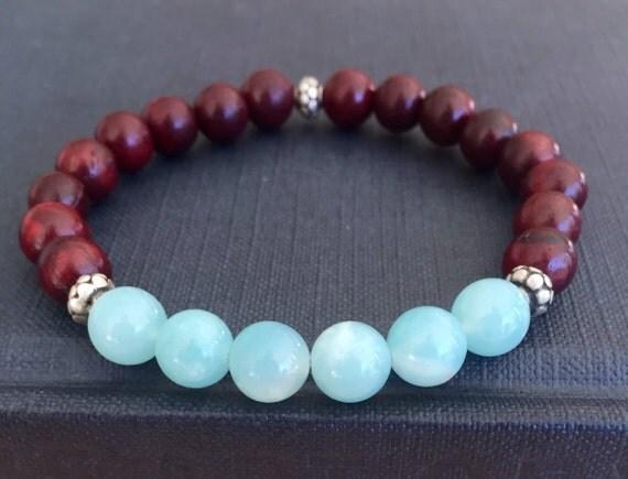 Amazonite Mala Bracelet Rosewood Wrist Japa Mala, Intuition, Courage Heart and Throat Chakra Yoga Jewelry Healing Stress Relief