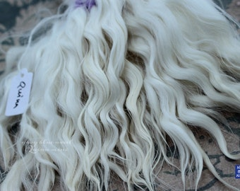 """10"""" """"QUINN"""" creamy white curls all natural washed and combed Suri alpaca locks ideal for dolls hair, BJD wig, Blythe reroot, reborn, artdoll"""