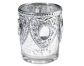 LR Silver Glass Candle Holders- Set of 3