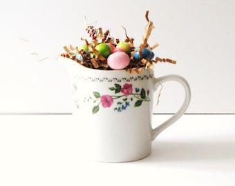 English Garden Farberware Creamer Vintage White Creamer with Floral Trim