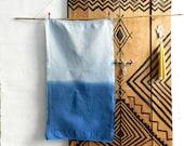Tea Towel natural Indigo Denim Blue Two tone hand dyed german vintage Linen Cotton Ombre 50x94 cm 20x37 inches