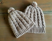 Mommy and Me Cabled Crochet Hats - adult and toddler slouch hats - slouchy beanies - stocking caps - Cabled winter stocking caps - tan cream