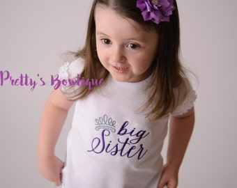 Big Sister Princess--Big Sister Shirt-- Personalized Shirt-- Sibling Sister Shirt Pregnancy Announcement Shirt-- Baby Announcement Shirt--