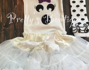Boo Shirt Baby Girl Halloween Outfit for Newborn to Youth XL 5-pieces with Tutu, Bloomers, Leg Warmers and Headband