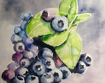 "The ""Blueberries"" Original Watercolor Painting, 11x14, free shipping"