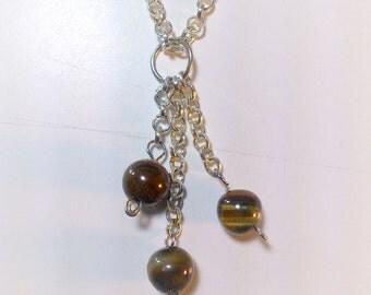 Tiger Eye Beads Triple pendant