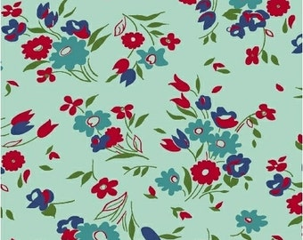 Dixie Aqua Small Floral Yardage SKU# 41862-3 Dixie by Cluck Cluck Sew for Windham Fabrics