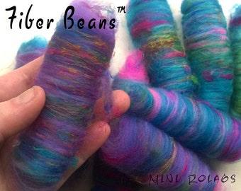 Mini Rolags - Fiber Beans -Van Gogh - spinning felting - merino wool pulled silk purple blue rainbow