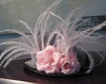 Mini top hat headband - pink mini topper headband - topper headband - top hat headband - Pink Fascinator