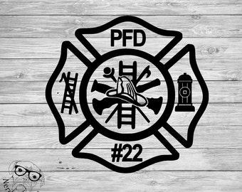 Firefighter Car Decal, Fireman Decal, Maltese Cross Decal, Personalized Firefighter Car Decal,  Window Decal - You choose the size and color