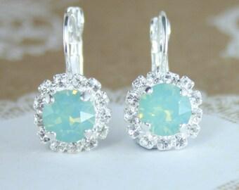 Wedding jewelry,bridesmaid earrings,bridal earrings,Swarovski,seafoam wedding,seafoam earrings,Swarovski pacific opal,mint opal,opal earring