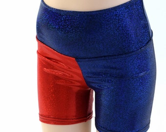 "Kids Harlequin High Waist Shorts with 2.5"" inseam  Childrens Unisex Sizes 2T 3T 4T and 5-12  Harley Quinn Cosplay (Red on RIGHT hip) 153918"