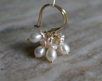 Pearl drop earrings, freshwater pearl dangle earrings, Keshi pearl earrings, pearl gift for her, wedding earrings, 14k gold fill ear wires