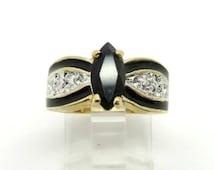 Vintage LIND 14K Gold Plated Black Spinel and CZ Cocktail Ring, Size 5